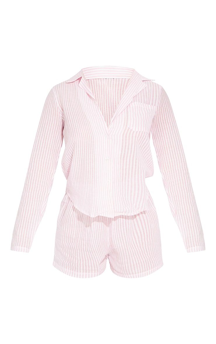 Pink Striped Cotton Long Sleeve Shirt And Shorts PJ Set With Scrunchie 5