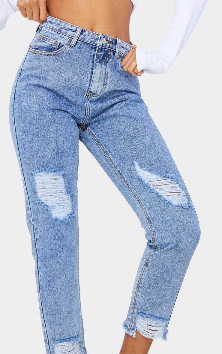 PRETTYLITTLETHING Vintage Wash Raw Hem Knee Rip Slim Fit Mom Jean 4
