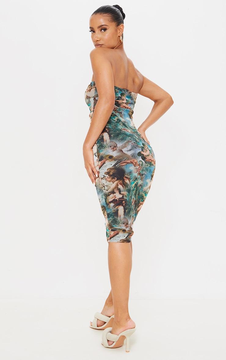 Multi Renaissance Print Mesh Bandeau Drape Midi Dress 2