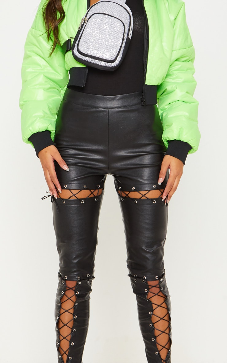 Black Faux Leather Lace Up Detail Skinny Pants 5