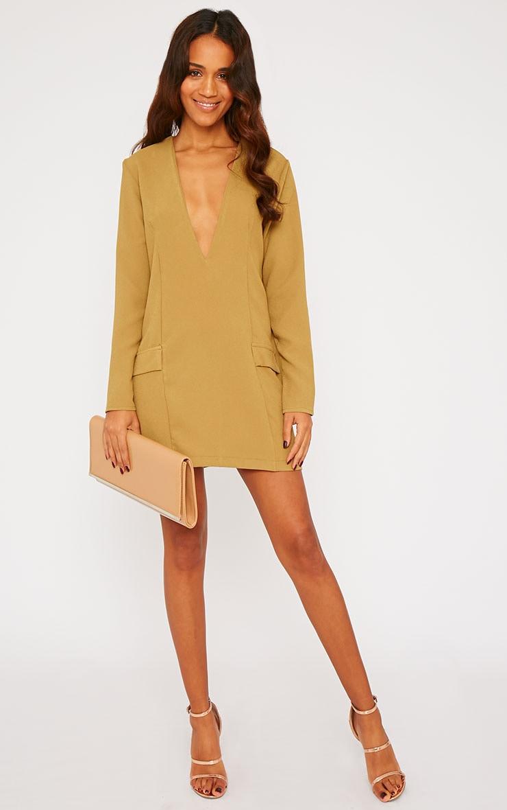 Jemima Khaki Loose Fit Blazer Dress 3