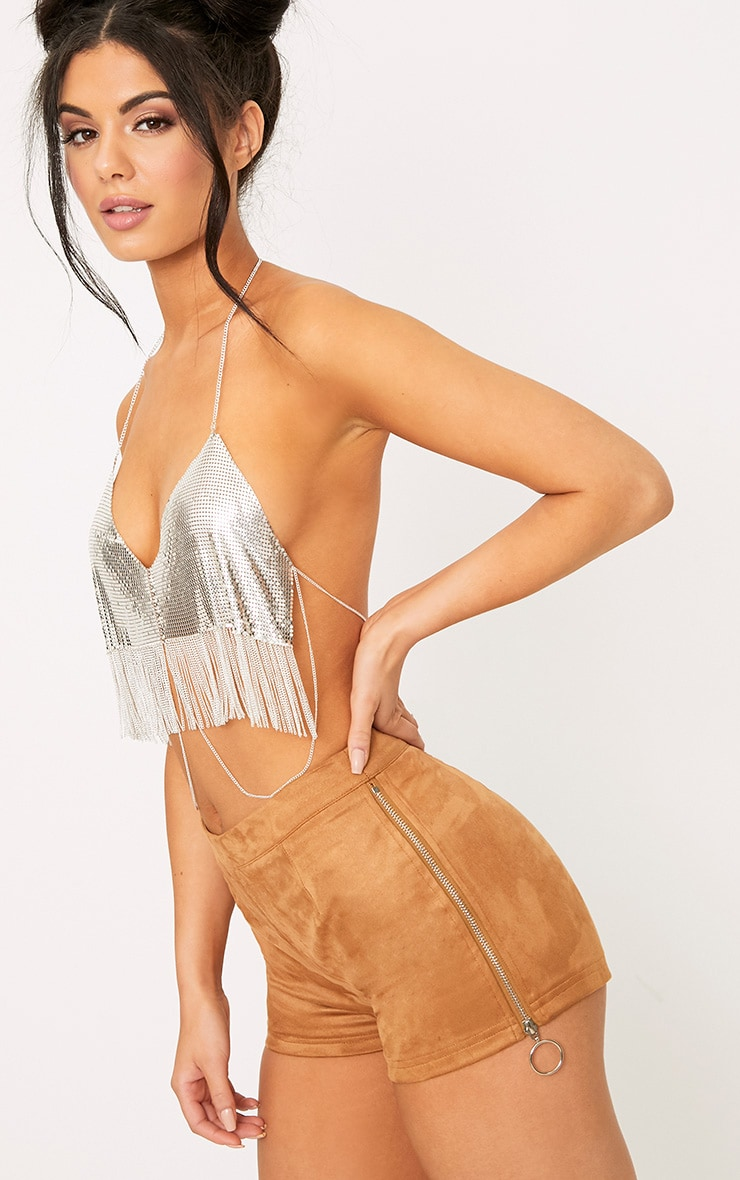 Camel Faux Suede Ring Zip Shorts 1