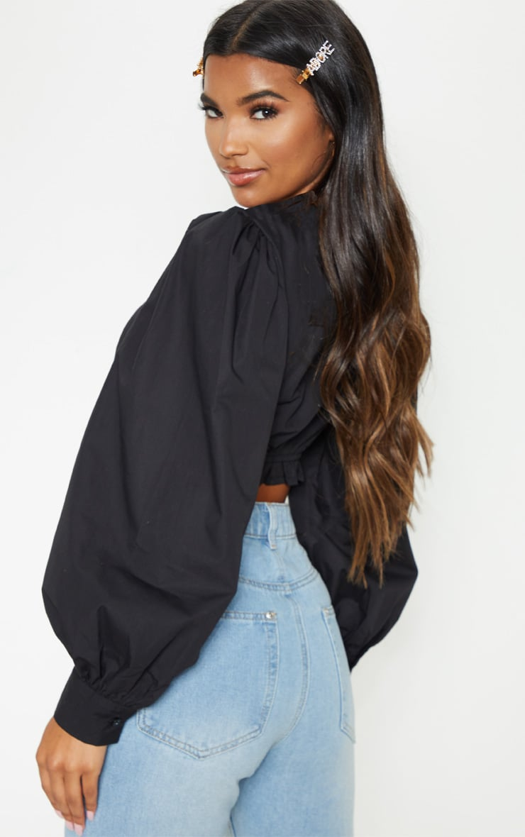 Black Puff Sleeve Crop Top 2