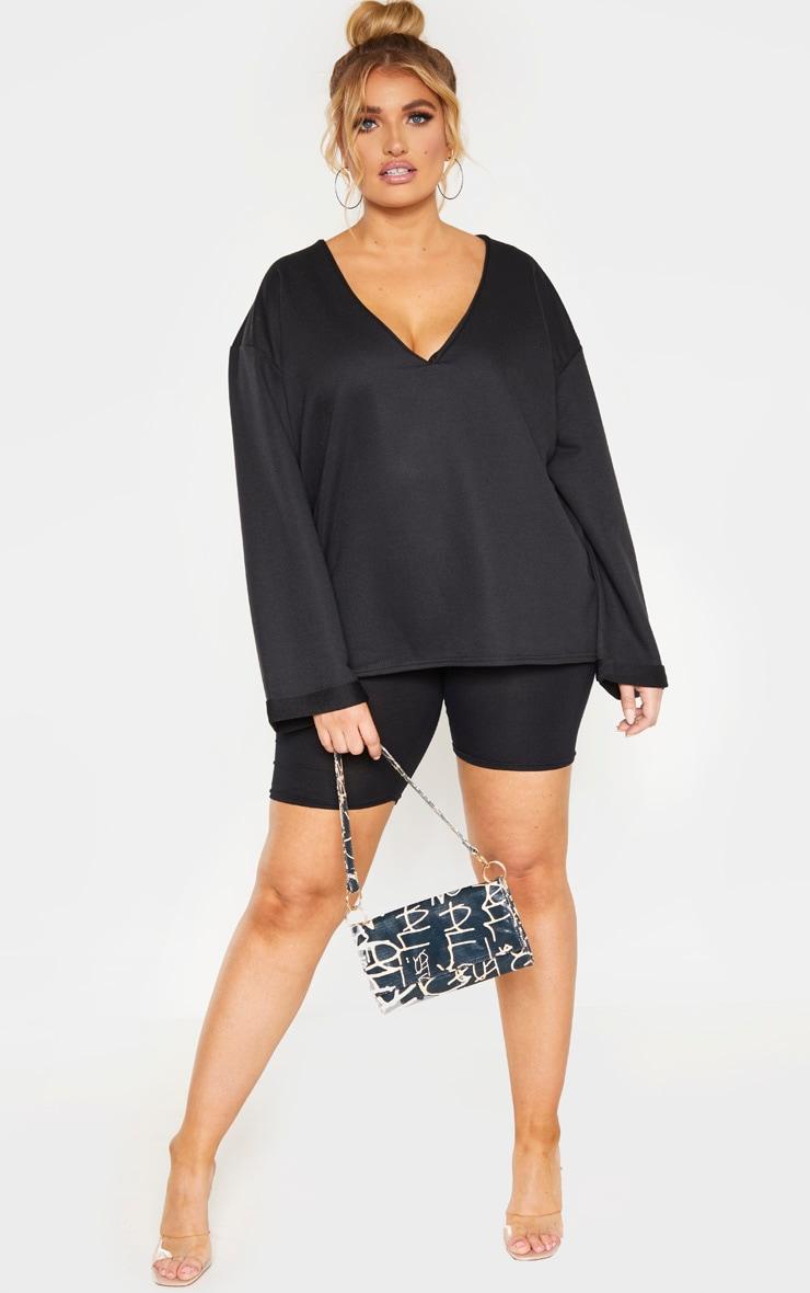 Plus Black V Neck Sweat Sweater 4