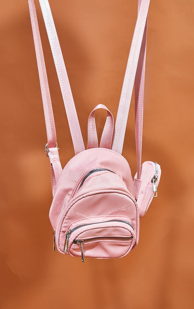 Pink Nylon Multipocket Backpack 2