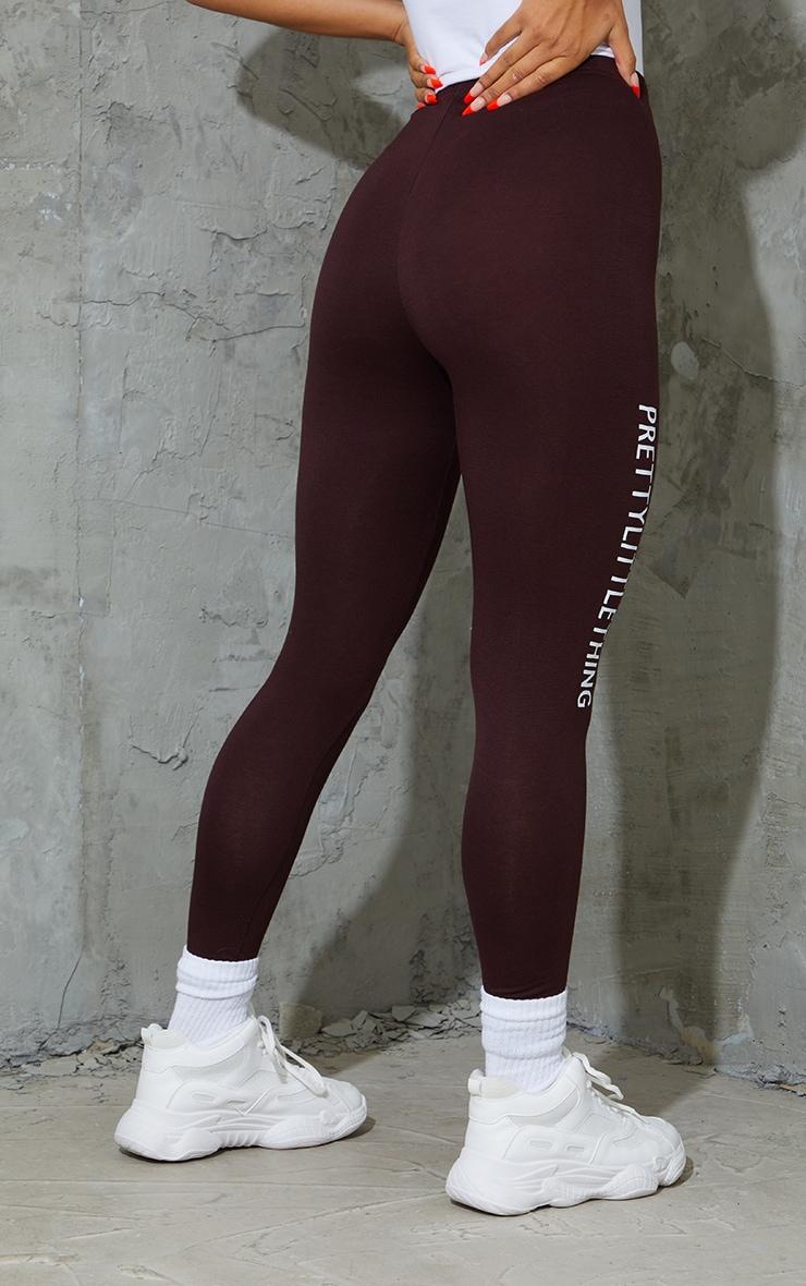 PRETTYLITTLETHING Brown Logo Leggings 3