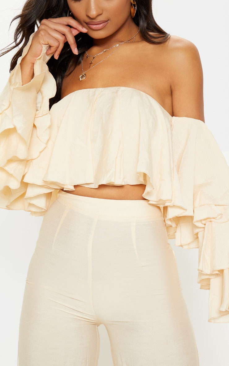 Cream Woven Bardot Tiered Sleeve Crop Top 5