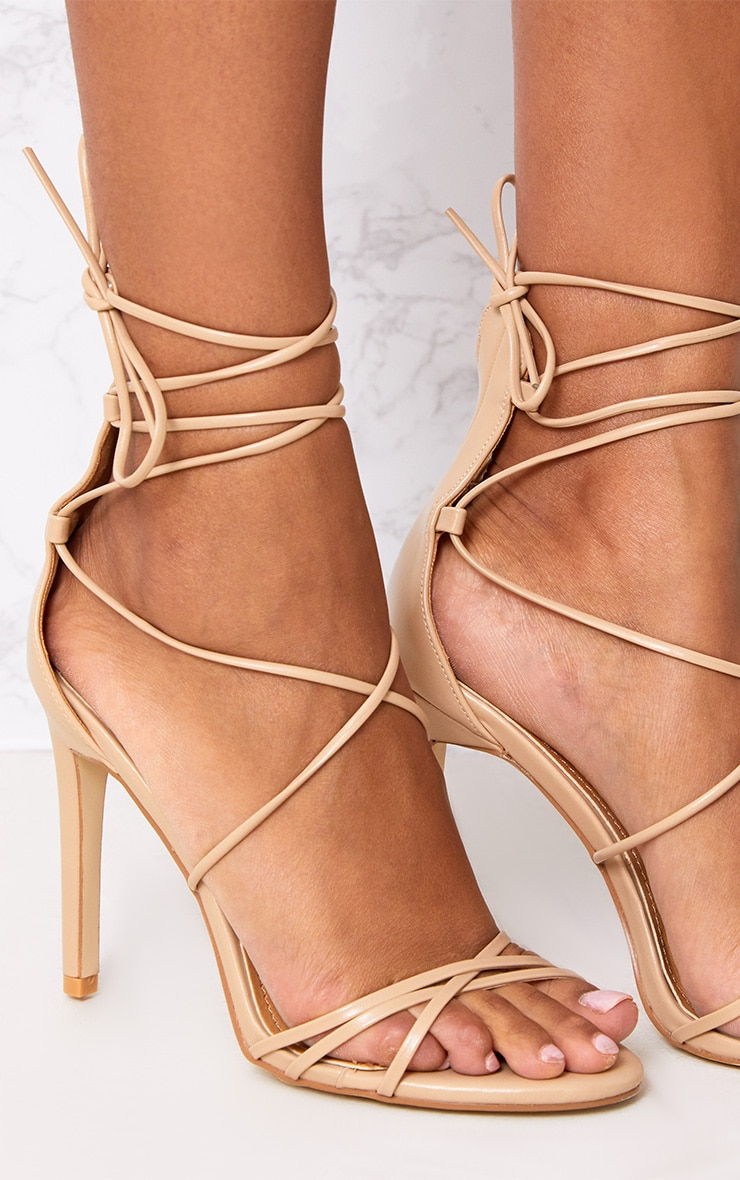 Elaine Nude Lace Up Strappy Heels 4