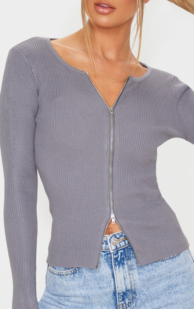 Charcoal Grey Zip Front Knit Top 5