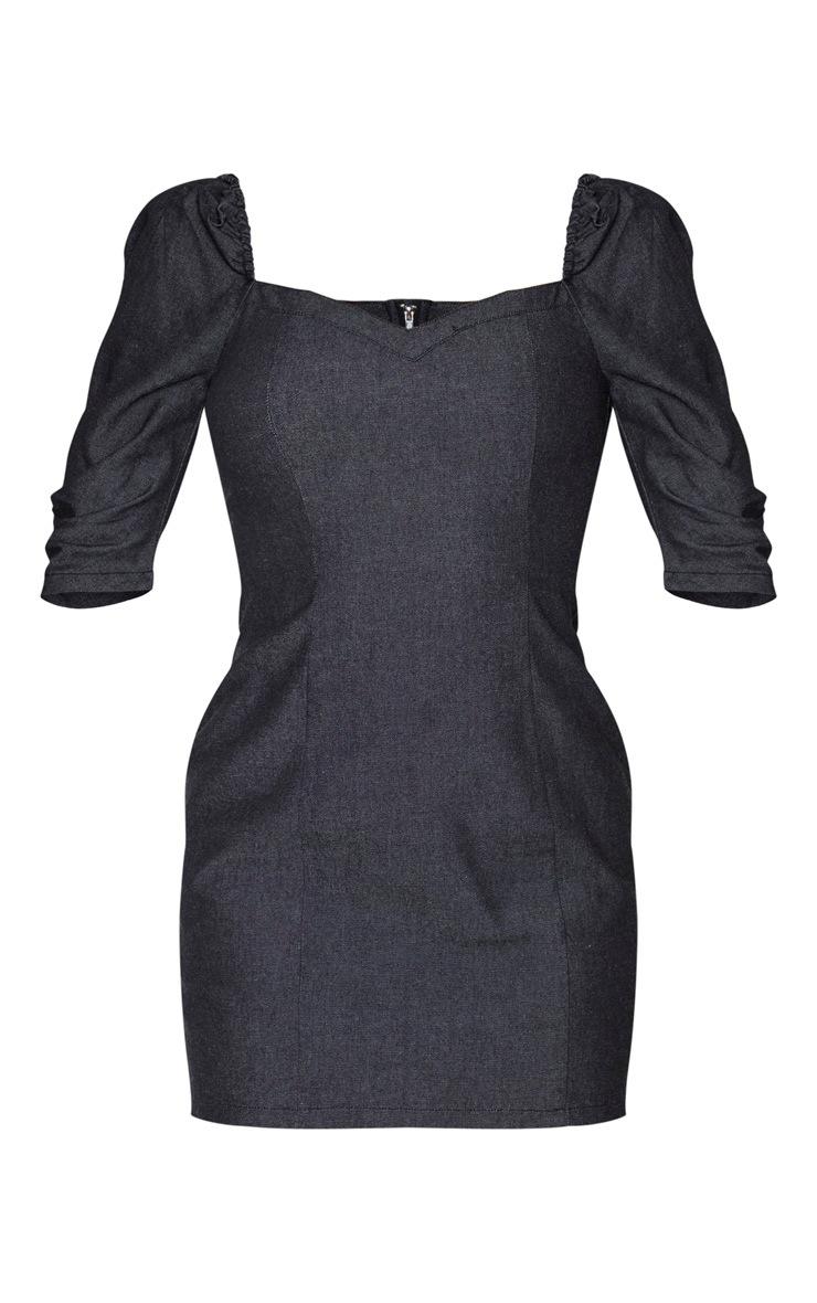 Tall Black Denim Puff Sleeve Mini Dress 6