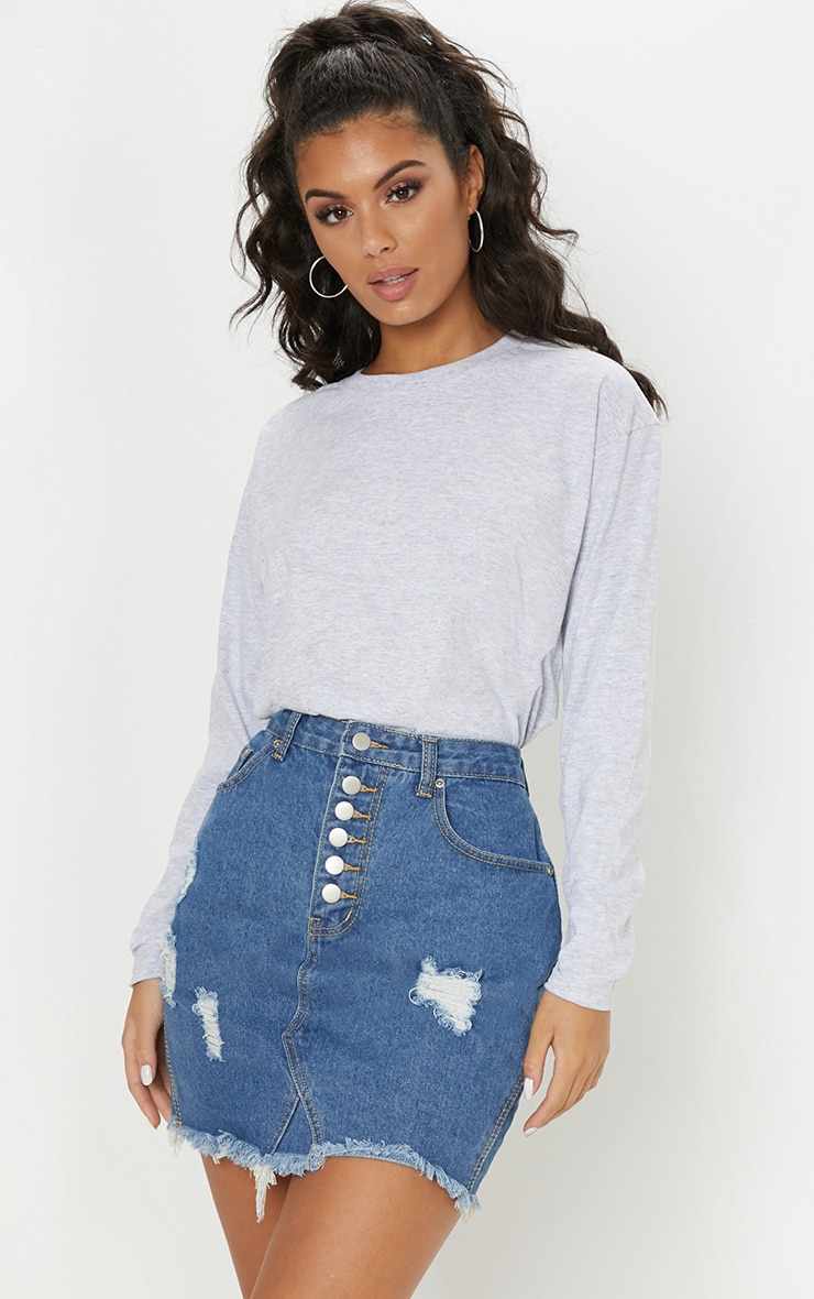 Mid Wash Button Through Distressed Denim Skirt