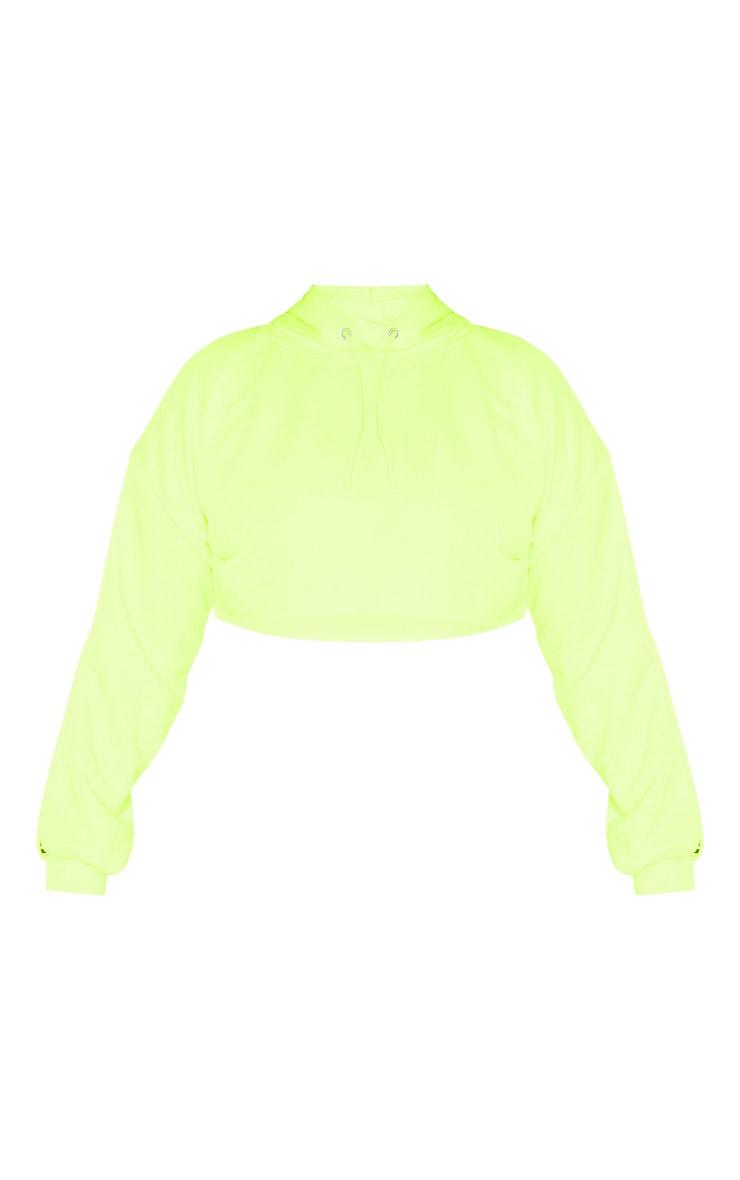 PLT Plus - Hoodie court vert citron fluo PRETTYLITTLETHING 3