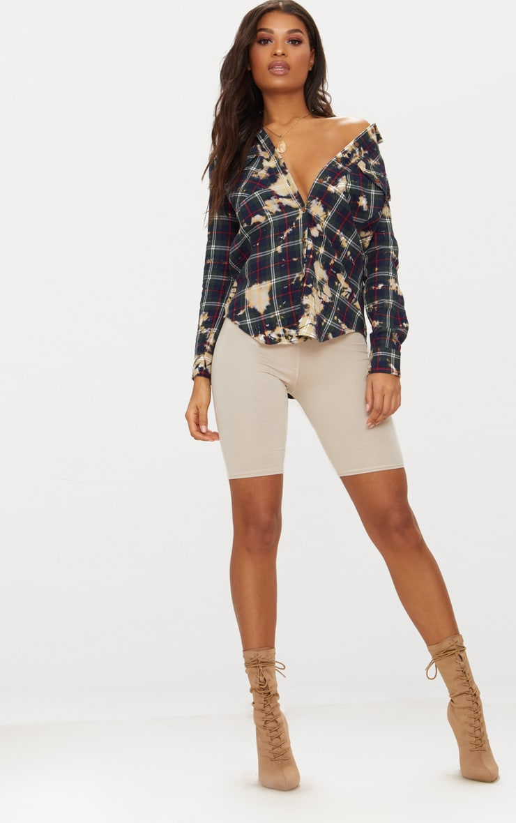 Navy Bleached Plaid Oversized Shirt  4