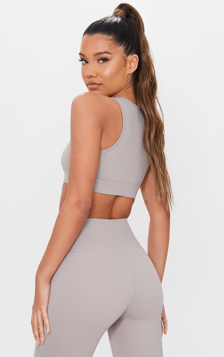PRETTYLITTLETHING Taupe Sculpt Luxe Cropped Gym Top 2