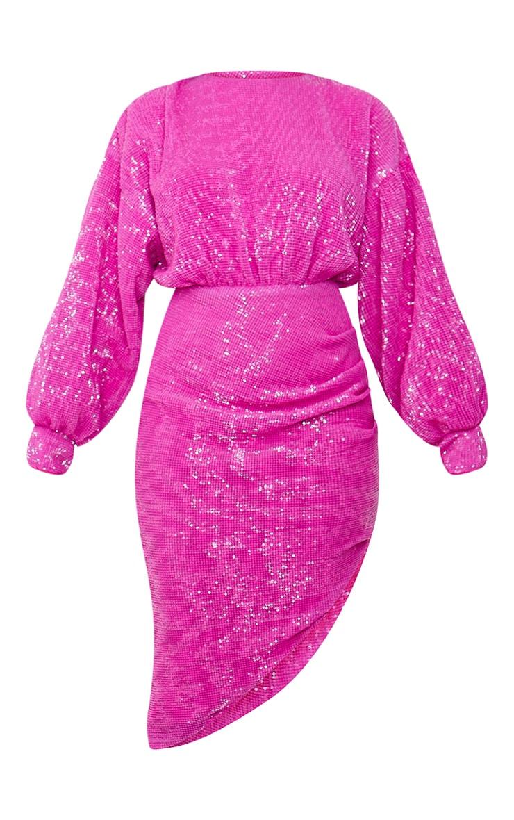 Robe mi-longue en sequins rose vif à dos ouvert et manches ballon 6