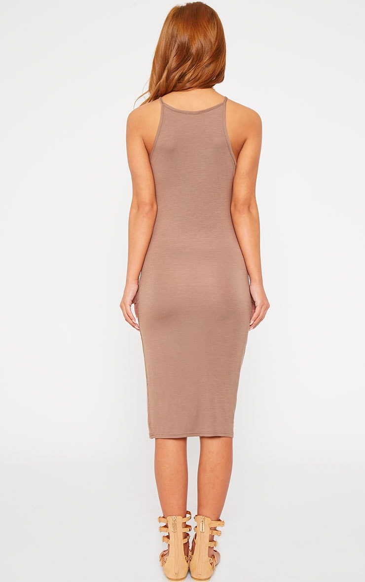 Basic Mocha Thin Strap Racer Neck Jersey Midi Dress 2
