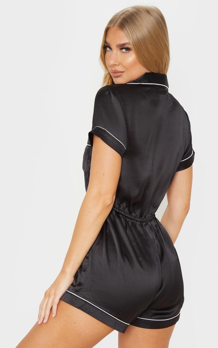 Pyjashort satiné noir à manches courtes 2