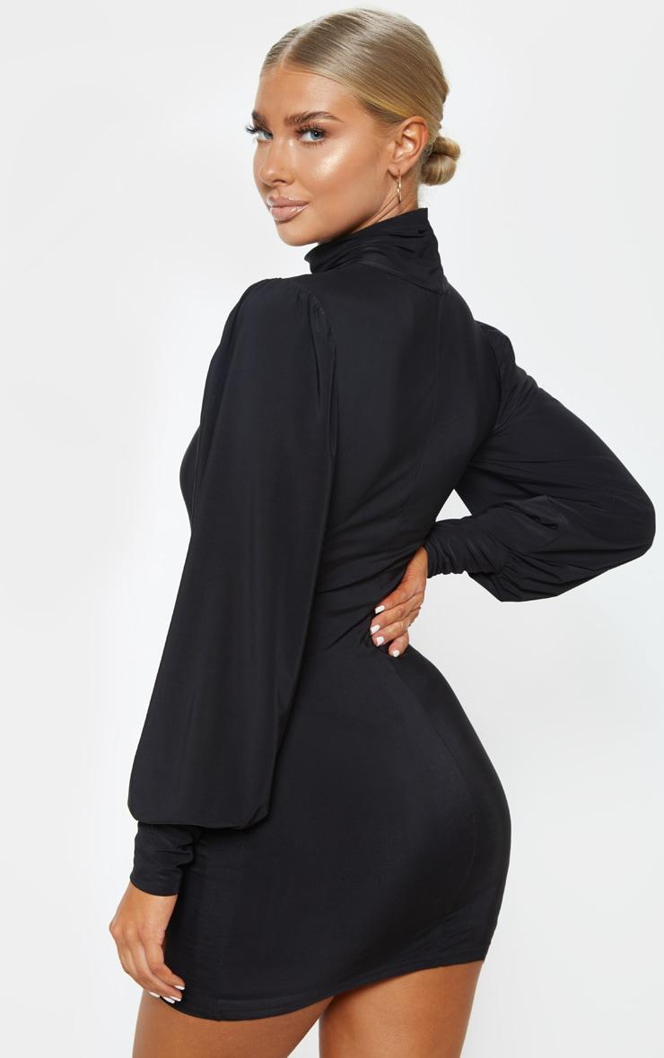 Black Slinky Long Sleeve High Neck Bodycon Dress 2
