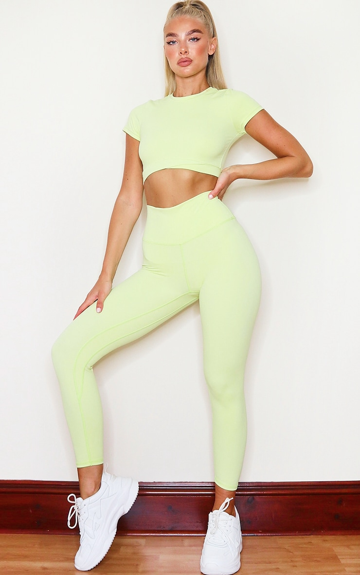 PRETTYLITTLETHING Lime Sports Sculpt Luxe Fabric Cropped Gym Legging 1