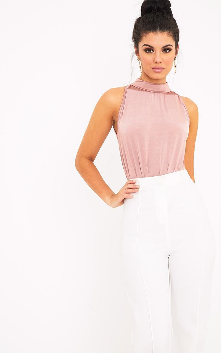 Laura Pink Slinky Shimmer High Neck Thong Bodysuit 1