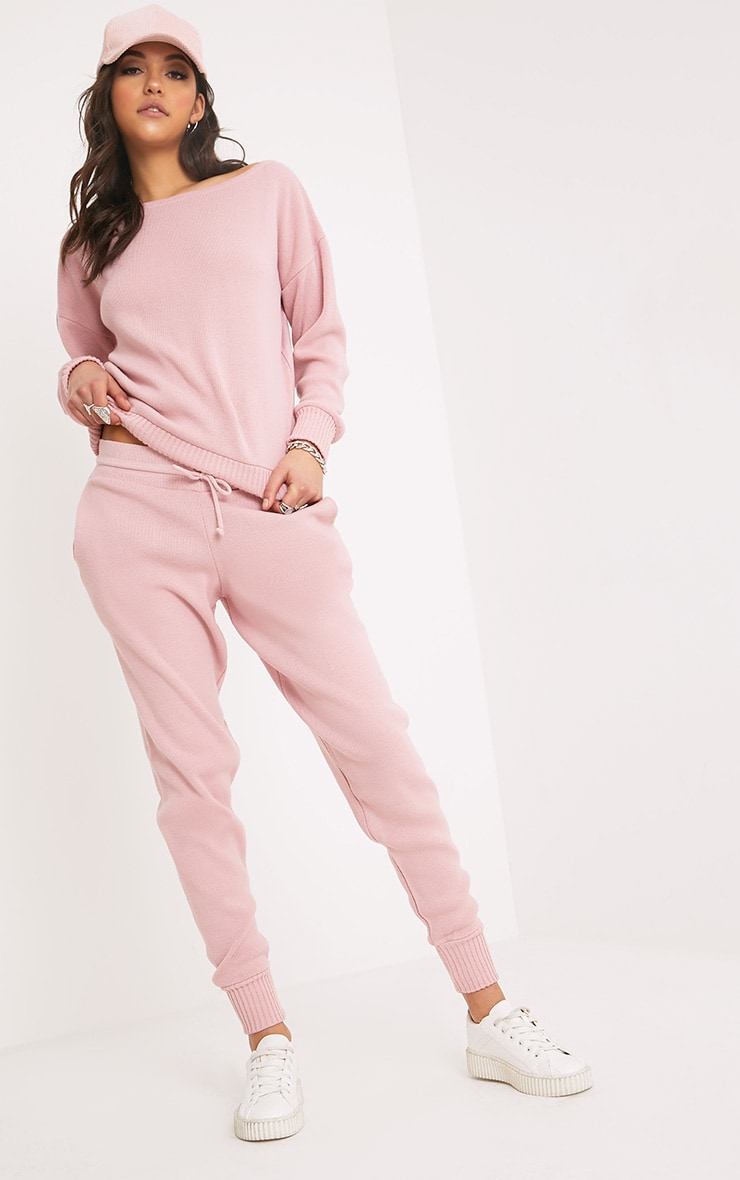 Auriel Pink Jogger Jumper Knitted Lounge Set 1