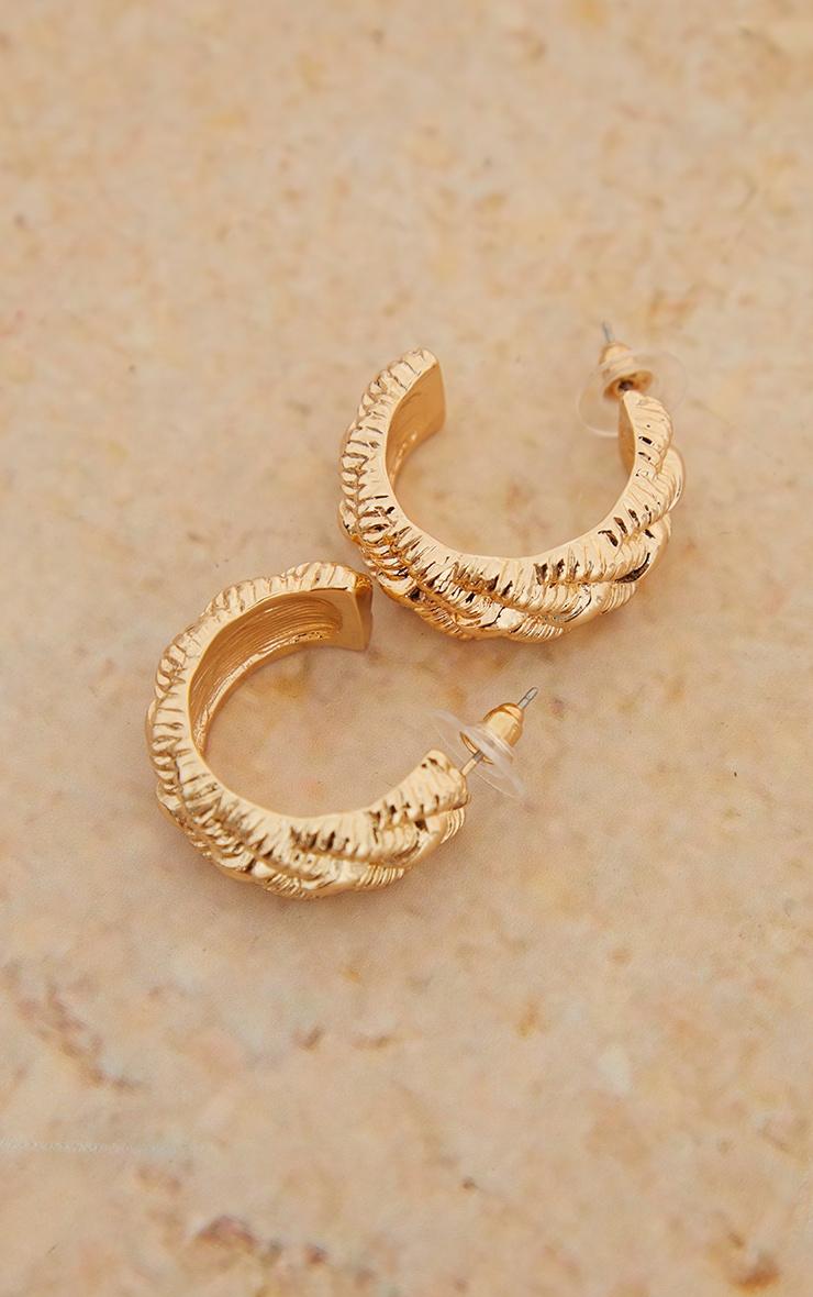 Gold Textured Weave Hoop Earrings 2