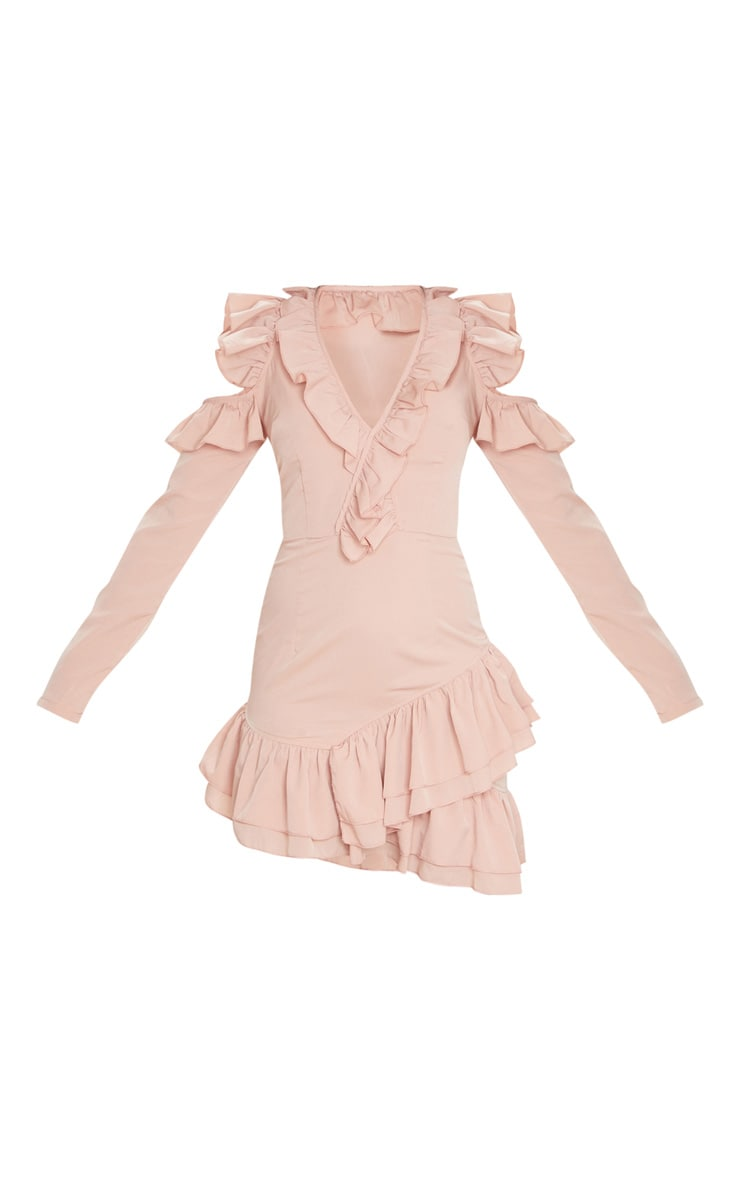 Dusty Pink Ruffle Detail Cold Shoulder Bodycon Dress 5