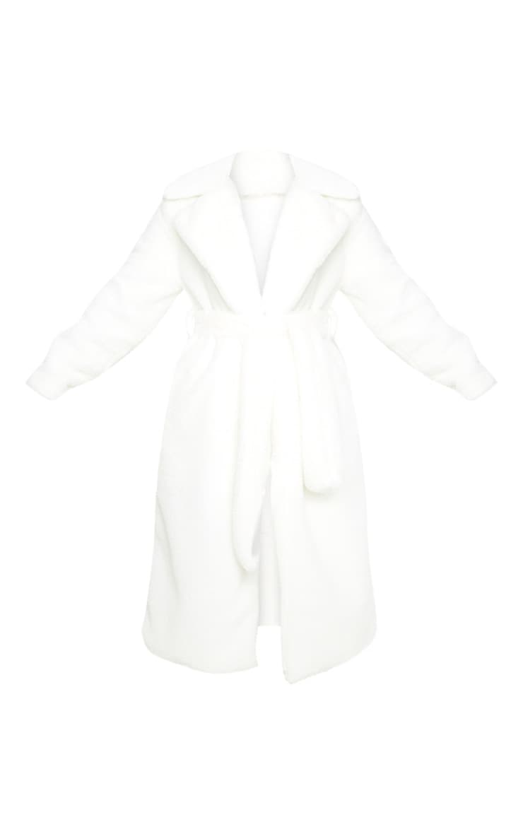 Petite Cream Belted Faux Fur Coat 3