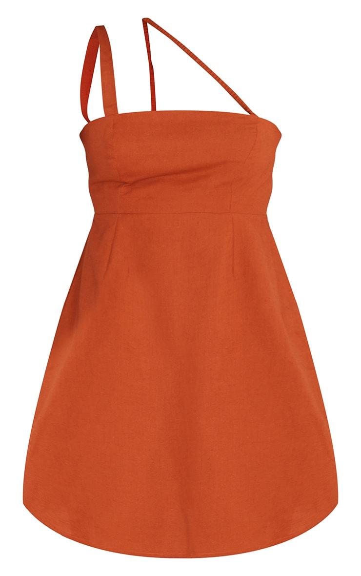 Terracotta Linen Multi Strap Square Neck Shift Dress 5