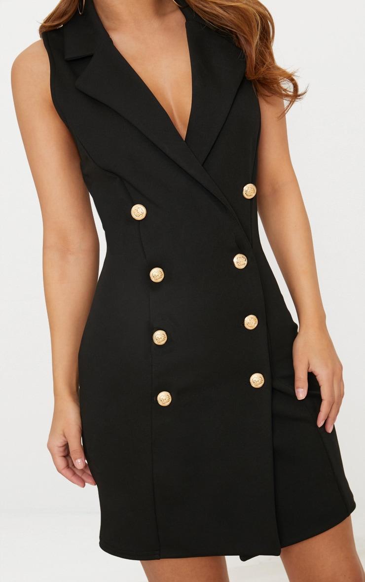 63930d1f114ee Petite Black Button Detail Sleeveless Blazer Dress image 4