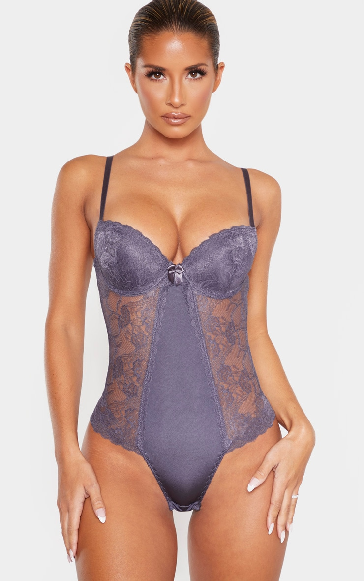 Grey Cupped Lace Panel Body 1