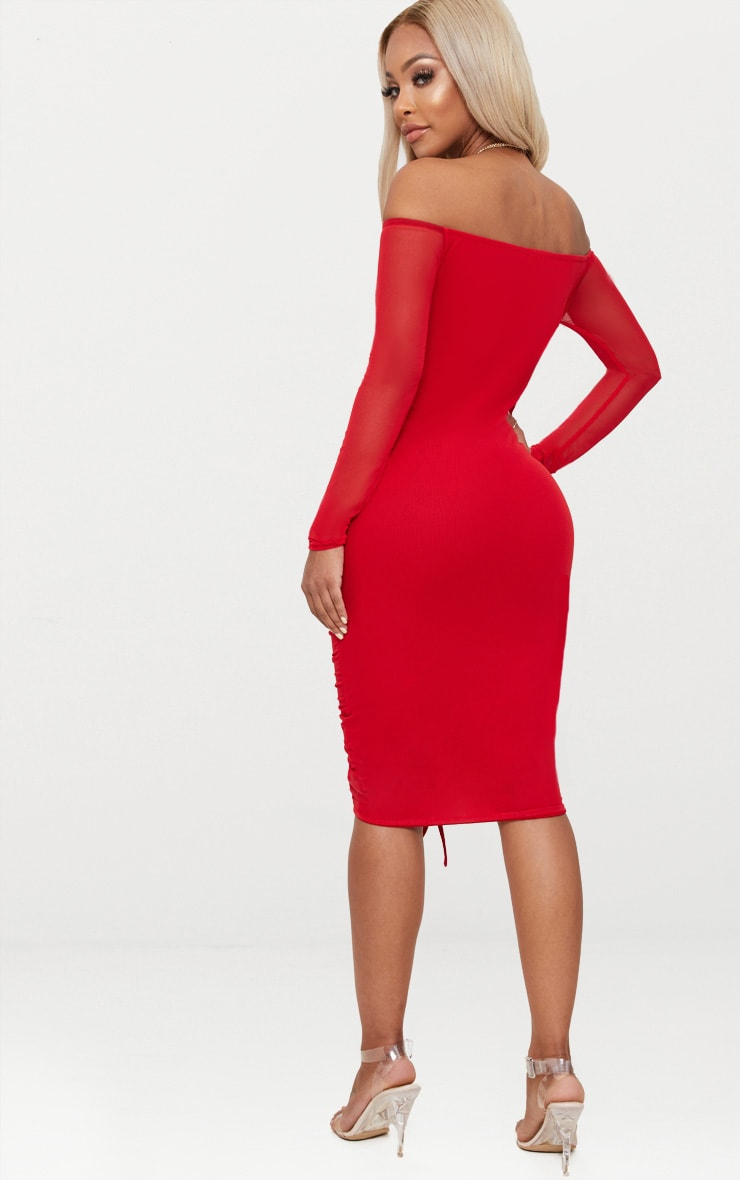 Shape Red Mesh Ruched Bardot Midi Dress 2