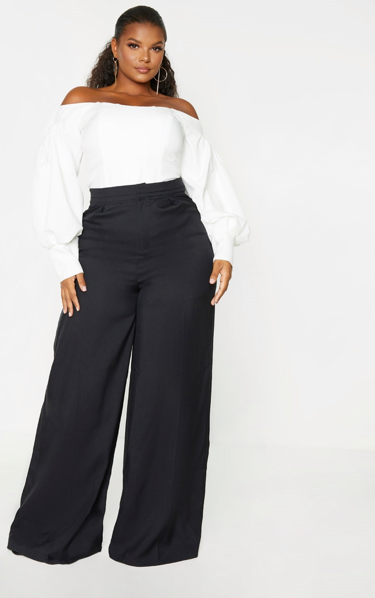 Plus Black Woven Pleat Detail Waistband Wide Leg Trouser 1