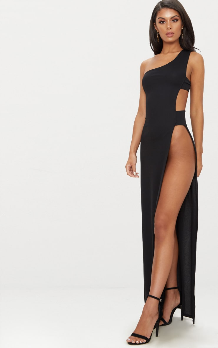 Black One Shoulder Extreme Split Cut Out Detail Maxi Dress 4
