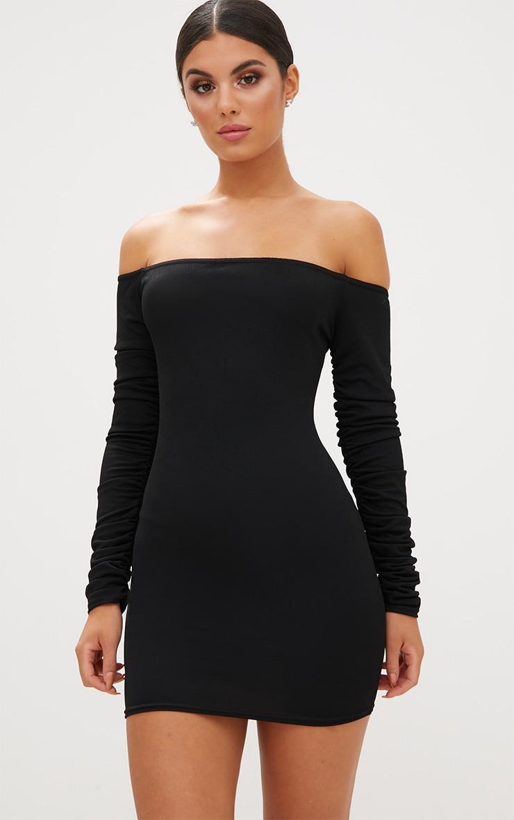 Black Ruched Arm Bardot Bodycon Dress 1