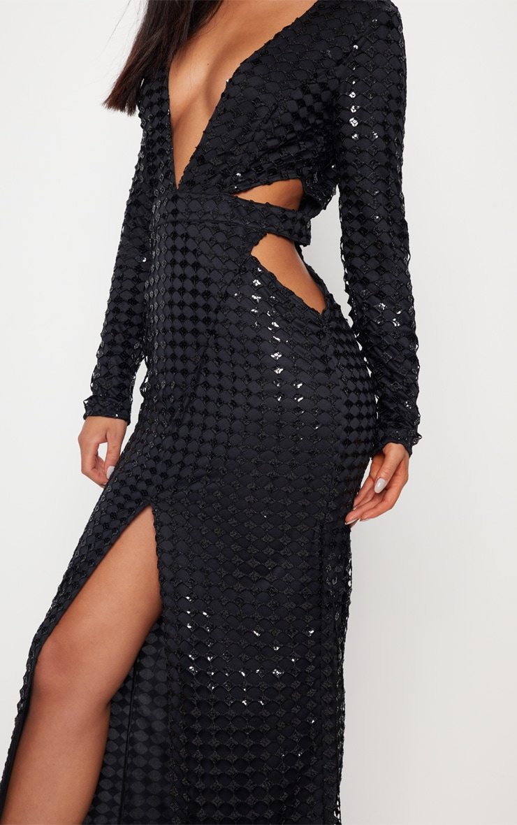 Black Metallic Detailed Cut Out Plunge Maxi Dress 5