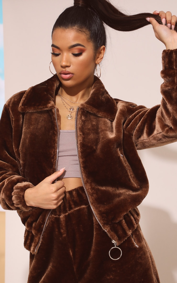 Chocolate Brown Faux Fur Zip Detail Jacket 6