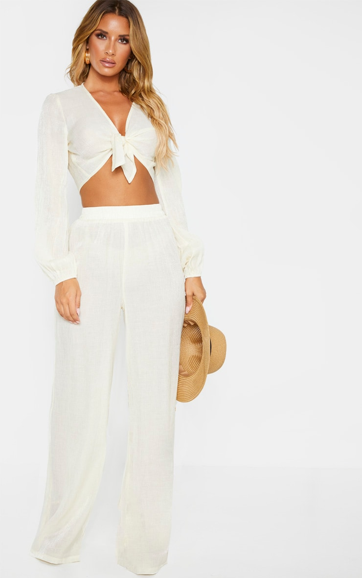 Cream Textured Tie Front Long Sleeve Crop Top 4