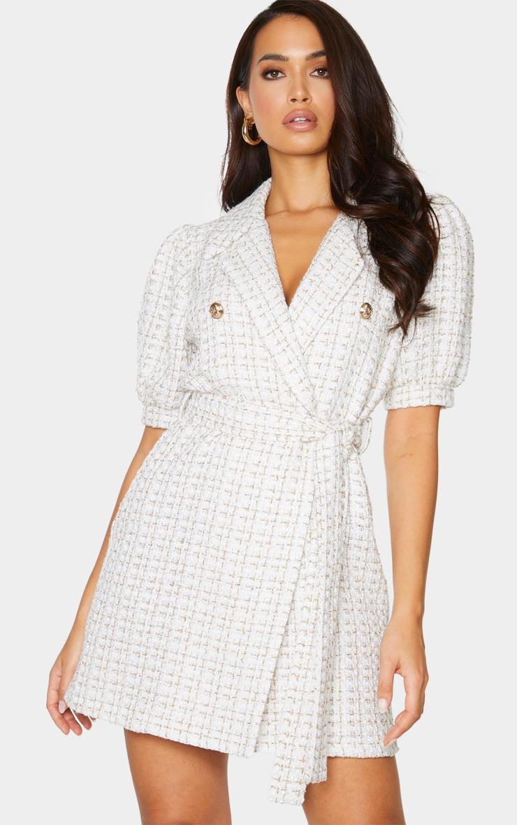 White Glitter Boucle Puff Sleeve Blazer Dress 1