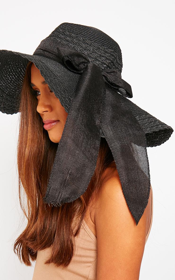 Henley Black Straw Floppy Hat 3
