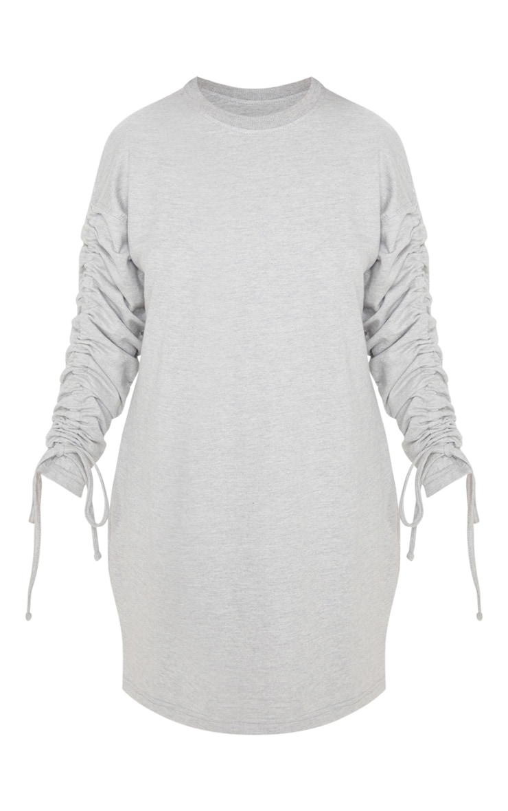 Petite Grey Marl Ruched Sleeve Sweater Dress  3