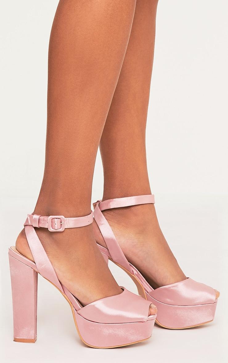 Dianne Pink Satin Platform Heels 1