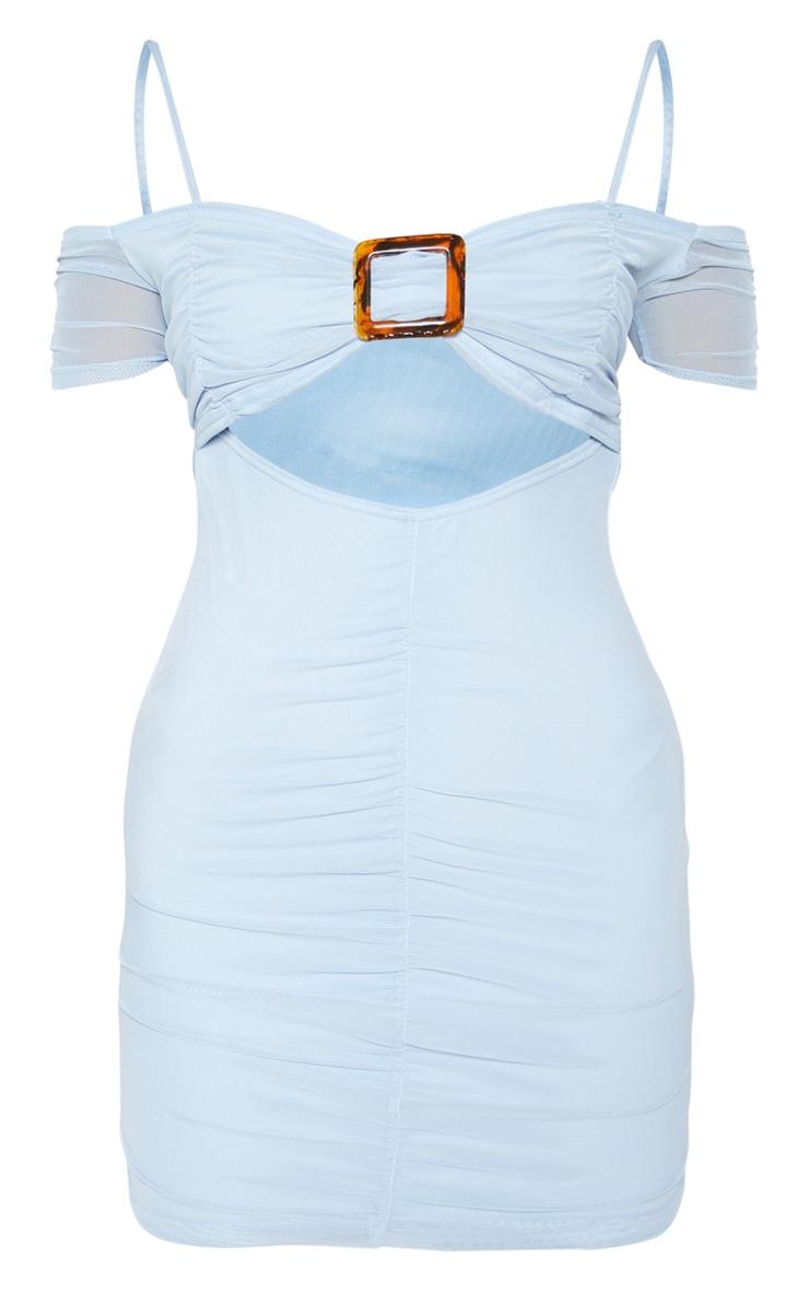 Baby Blue Mesh Tortoiseshell Buckle Detail Frill Hem Bodycon Dress 3