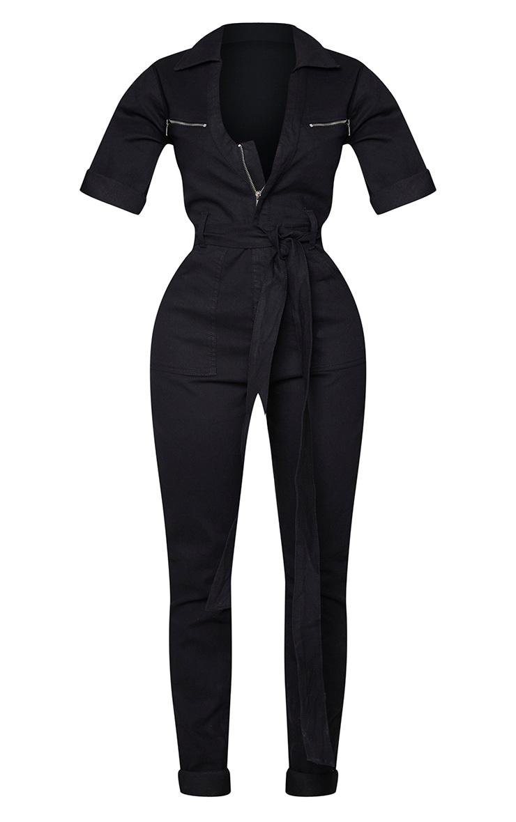 Shape Black Short Sleeve Zip Detail Denim Jumpsuit 5