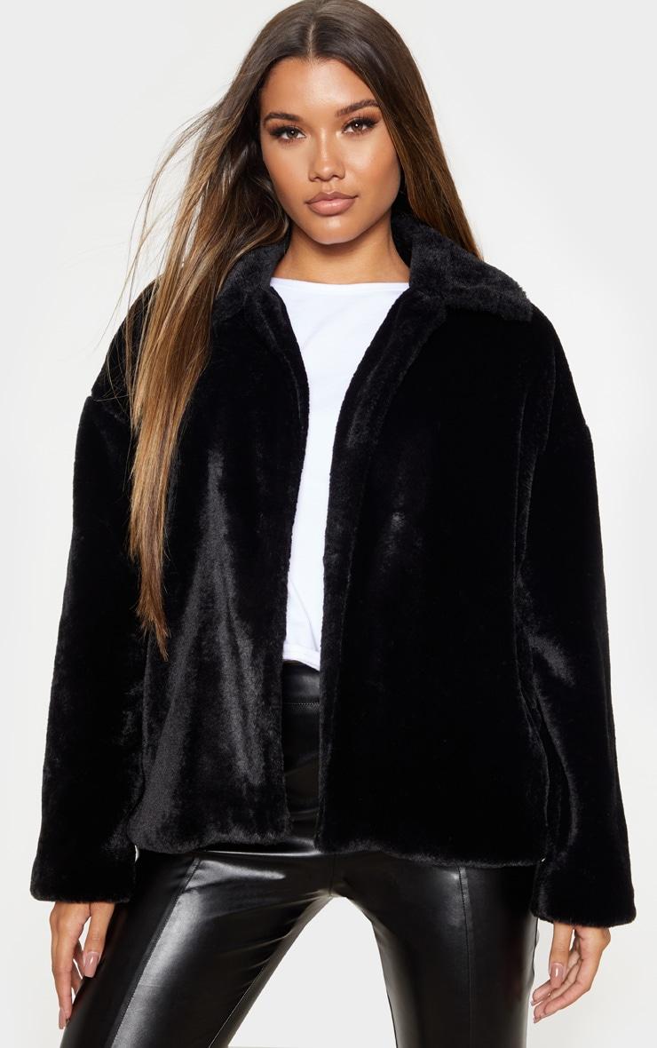 Black Oversized Faux Fur Jacket 1