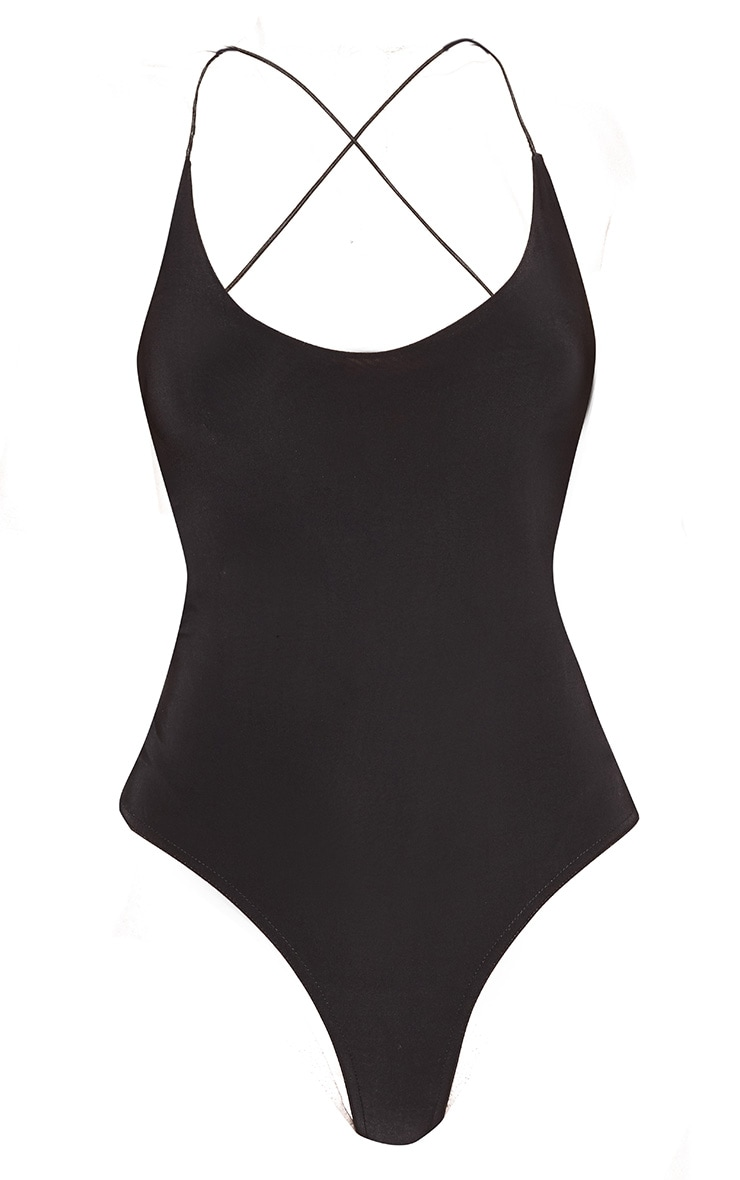 Black Slinky Spaghetti Strap Backless Bodysuit 3