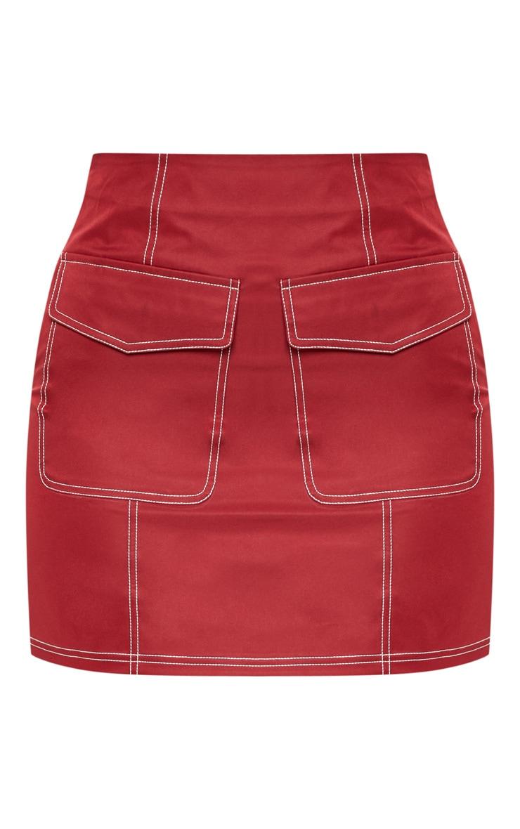 Burgundy Contrast Stitch Pocket Detail Mini Skirt 3