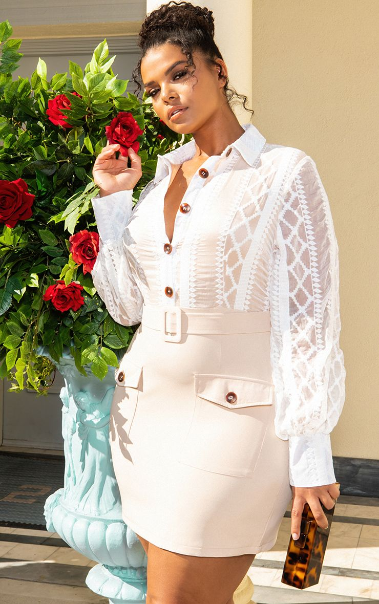 White Lace Button Up Bodycon Dress 1