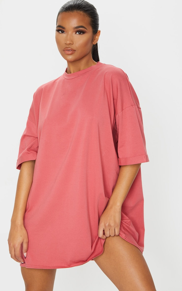 Recycled Washed Red Boyfriend Oversized T Shirt Dress 1