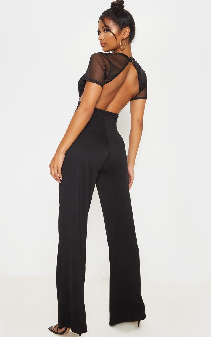 Black Mesh Short Sleeve Cut Out Jumpsuit 2